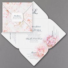 Painted Peonies Self-Mailer Wedding Invitation  |  40% OFF  |   http://mediaplus.carlsoncraft.com/Wedding/Wedding-Invitations/3254-TWS36246-Painted-Peonies--SelfMailer-Invitation.pro