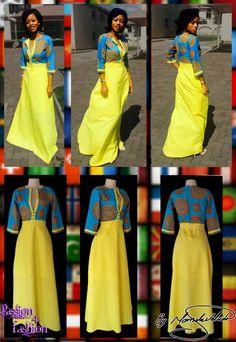 Modern traditional Venda dress with bright yellow bottom