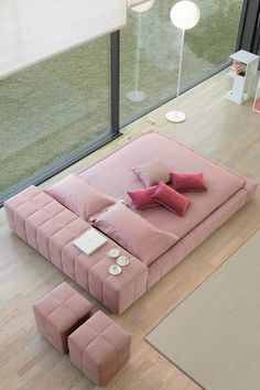 Double bed with removable cover SQUARING - @bonaldo
