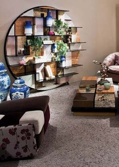asian inspired decorating ideas | Asian interior decorating style, furniture and accessories I love the table and shelving