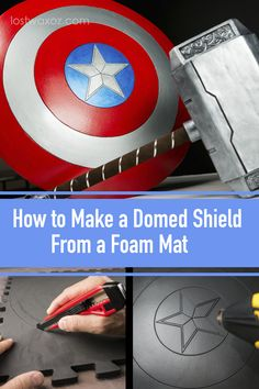 How to Make a Captain America Shield from Foam — Lost Wax Best way to dome foam! Make your own smoooth foam shield for Captain America Cosplay, Wonder Woman costume and more! Cosplay Armor, Marvel Cosplay, Cosplay Diy, Foam Dome, Captain America Cosplay, Captian America Costume, Captin America, Armadura Cosplay, Foam Armor