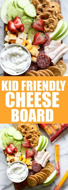 Kids will happily devour every last bite of this kid friendly cheese board. Loaded with fruits, veggies, cheeses and meats. Perfect to serve as a lunch or after school snack tray. Perfect for #backtoschool !