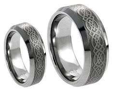 Men & Ladies 8MM/6MM Tungsten Carbide Wedding Band Ring Set w/Laser Etched Celtic Design. Please use drop down menu to choose your desired sizes. Genuine Tungsten Carbide (Cobalt Free) Wedding Band Ring. Hypoallergenic - Comfort Fit. This ring can be worn as a Wedding Band or Promise Ring by men or women. Beware of Imitated Replicas - 30 Day Money Back Gurantee!.