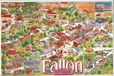 Chrome Large Format Postcard Street Map of Fallon Nevada Maps Nevada Map, Nevada California, Nevada City, Fallon Nevada, Nevada Homes, Reno Tahoe, Virginia City, Rough Riders, City Photo