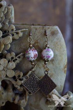 Ceramic & Brass Tea Garden Earrings  from A Single Dream