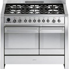 Select from a wide range of dual fuel cookers and range cookers from Smeg. From and wide through to and there is a stainless steel electric oven cooker with gas hob to suit every requirement. Dual Fuel Cooker, Dual Fuel Range Cookers, Oven Cooker, Cooker Hoods, Gas Cookers, Stainless Steel Appliances, Kitchen Appliances, Kitchens, Cuisine