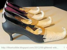 WITCHES SHOES: Cool for table leg decoration. Via Liz Worthington
