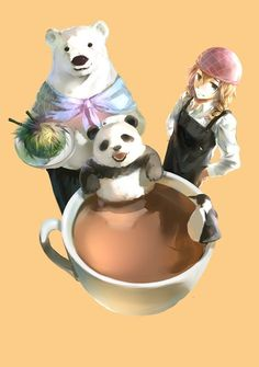 Where my grizzly at Polar Bear Cafe, Manga Anime, Anime Art, Anime Japan, Penguins, Chibi, Panda, Marvel, Animation