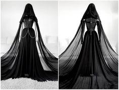 Dark Loner Gown by Askasu Dark Fashion, Gothic Fashion, Pretty Dresses, Beautiful Dresses, Fantasias Halloween, Fantasy Gowns, Black Wedding Dresses, Gothic Wedding, Gothic Outfits