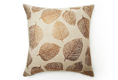 One Kings Lane - Foreign Exchange - Leaf 20x20 Pillow, Natural/Bronze