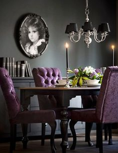 Purple and black dining room
