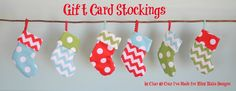 Gift card stockings (Crap I've Made via Curbly) | Maybe use scrapbook paper as a shortcut for these