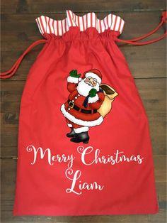 Calico Santa Sack - Santa Red Santa Sack, Santas Workshop, Big Day, Christmas Stockings, Festive, Merry, Treats, Red, Collection