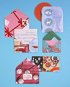Festive Envelopes: These handmade envelopes, fashioned from magazine pages and wrapping paper, are great for holiday letters or flat gifts, such as CDs. Unfold a regular envelope. Choose patterned paper larger than the envelope (or stick mismatched pieces together with glue). Trace the envelope onto the paper, fold (use envelope as a guide), and secure with glue stick. If mailing, add a label.