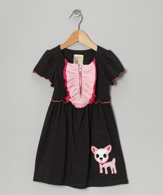 Take a look at this Charcoal Kitten Dress - Toddler & Girls by Twirls & Twigs on #zulily today!