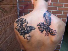 Odin's Raven Tattoo On Back Shoulder And Upper Back