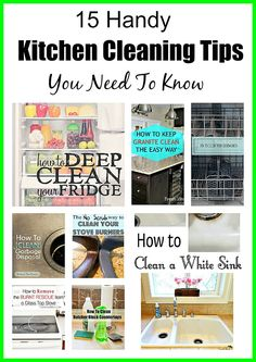 15 Handy Kitchen Cleaning Tips You Need To Know! Lots of tips to help you clean even the most difficult areas of your kitchen! Diy Home Cleaning, Bathroom Cleaning Hacks, Green Cleaning, House Cleaning Tips, Kitchen Cleaning, Cleaning Recipes, Spring Cleaning, Diy Cleaners, Cleaners Homemade