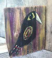Primitive Crow Folk Art Painting Original Old Barn Wood A. Gambrel Outsider Art