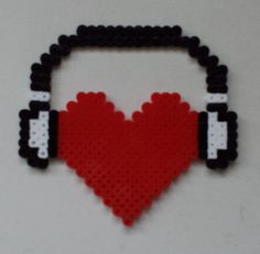 Week 26, Day 182, Musical, I Love Music.  Perler 365 Day Bead Challenge. Melty Bead Patterns, Pearler Bead Patterns, Perler Patterns, Beading Patterns, Hama Beads Design, Diy Perler Beads, Perler Bead Art, Peler Beads, Iron Beads
