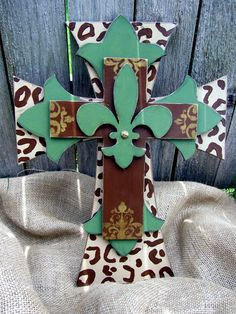 Green and Leopard Hand Painted Wooden Cross by PoshReCreations,