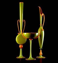 Orange and Green blown glass trio by Dante Marioni