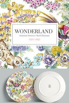 Wonderland, An exquisitely hand painted colorful and large pattern with elegant and high resolution elements in beautiful tones of colors, perfect for a wide range of products which can also be personalised with the individual elements/motifs that come with it.
