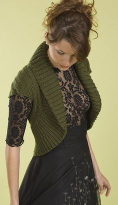 Free knitting pattern for Shawl Collar Chevron Shrug - Back has a chevron stitch pattern. Knit in a rectangle then fold and seam to form shrug. #shrugsfordresses