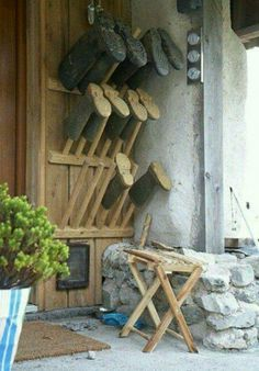 Great design for this country cottage. We especially love this welly stand close to the back door! & Homemade Welly Stand | Pinterest | Boot storage Boot dryer and Farming