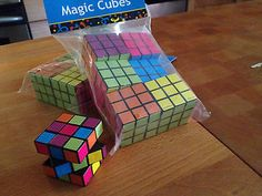 Cube puzzles of the 70's and 80's. Really cute puzzle for 1980's party favors