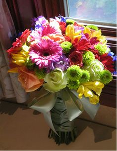 multi coloured wedding flowers - Google Search