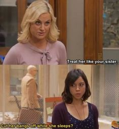 Amy Poehler and Aubrey Plaza as Leslie Knope and April Ludgate Parks And Rec Memes, Parks And Recreation, Janet Snakehole, Lito Rodriguez, Parcs And Rec, Parks Department, Leslie Knope, Aubrey Plaza, Treat People