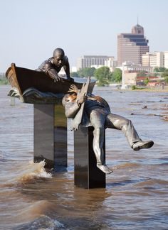 Tom Lee Monument in Memphis, Tenn - during the 2011 flood. (Sculpture ordinarily is near, not IN the Mississippi River)