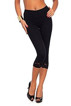 Womens Cropped Floral Lace 3/4 Length Cotton Leggings, Womens Lace Cropped 3/4 Length Cotton Leggings Made In UK With EXTENDED DURABILITY Giving A PERFECT FIT, Good Quality Warm Leggings Made with high quality elastic material allowing the leggings to keep its original form and fit even after washing