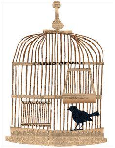 Bird in Cage...paper collage....by denise fielder