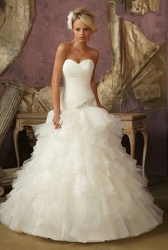 Mori Lee - Tampa. Diamante applique on ruffle organza and tulle drop waist ball gown with strapless sweetheart neckline and corset back closure.