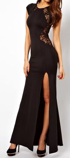 Black Lace Split Maxi Dress ♥