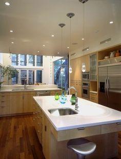 light cabinets, hardwoord floors, white countertops - Robbs Run Residence contemporary kitchen Kitchen Cabinet Design, Cool Kitchens, Kitchen Remodel, Kitchen Decor, Contemporary Kitchen, Maple Cabinets, Kitchen Renovation, Maple Kitchen, Kitchen Design