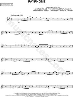 Print and download Payphone - Eb Instrument sheet music by Maroon 5 arranged for Alto Saxophone or Baritone Saxophone. Instrumental Solo, and Instrumental Part in G Major.