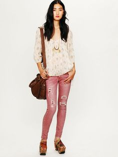 Free People Destroyed Skinny Jean, $148.00...these pants are awesome!!!! (-the $148 part lol)