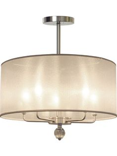 """Cosmo Organza - The five-bulb cluster totals 300 watts, and emits a brilliant dim-able bright light. It's fantastic over a dining room table, kitchen island or a wet bar. Lamp comes complete with canopy and 36"""" of nickel down rod or choose a custom length. Retail cost $450"""