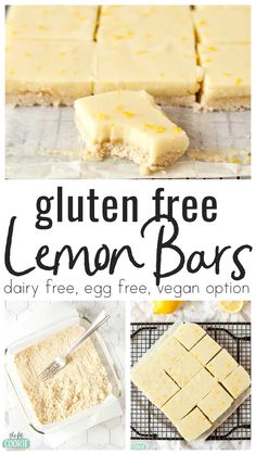 Classic lemon bars get an allergy friendly twist with these Gluten Free Lemon Bars! Our creamy lemon bars are dairy free, egg free, and have a vegan option Gluten Free Deserts, Gluten Free Sweets, Vegan Dessert Recipes, Foods With Gluten, Gluten Free Baking, Vegan Sweets, Dairy Free Recipes, Vegan Gluten Free Cookies, Dairy Free Treats