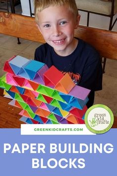 This is a perfect activity for those kids who love building with blocks. Instead of plastic blocks, this activity uses heavy-duty paper (which can be RECYCLED!) Blocks are a toy staple – they can be stacked and knocked over numerous times and provide entertainment time and time again. It's a great activity for young kids to learn eye and hand coordination, too!