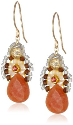 Miguel Ases Orange Jade and Created Quartz Drop Earrings 14 ** To view further for this item, visit the image link.