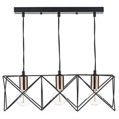 Generous 3 light over table bar pendant in matt black finish with polished copper lamp holder detail. Perfect for displaying decorative lamps. With the open metal work frames, this fitting adds ambience to vintage and modern interiors alike.