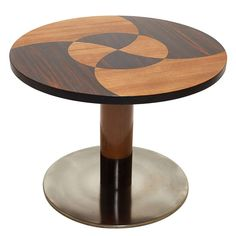 Funkis Round Table with Marquetry Top Steel Base by Otto Schulz   From a unique collection of antique and modern side tables at http://www.1stdibs.com/furniture/tables/side-tables/