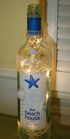 Wine Bottle Lamp with Starfish and Sea Shells by EcoArtbyNancy