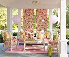 great idea for color and sun protection: printed fabric panels