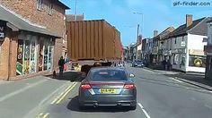 Truck Almost Hits Woman's Head | Gif Finder – Find and Share funny animated gifs