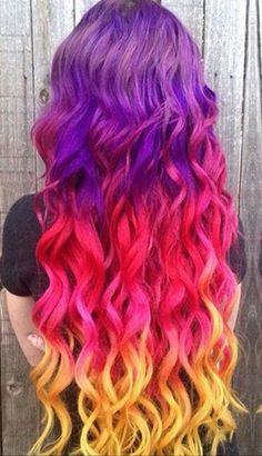 Purple red yellow hair