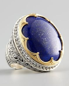 Round Topaz-Bezel Lapis Ring by Konstantino at Neiman Marcus. I love Konstantino having met him at a Nieman's truck show all I can say he is as colorful as his jewels are.